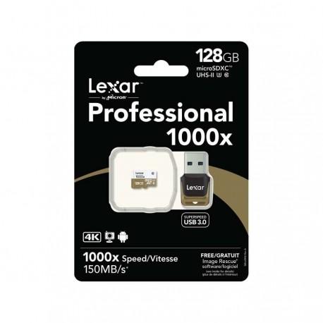 Lexar MicroSD w/ USB Reader Class10 U3 1000X 150M 128GB