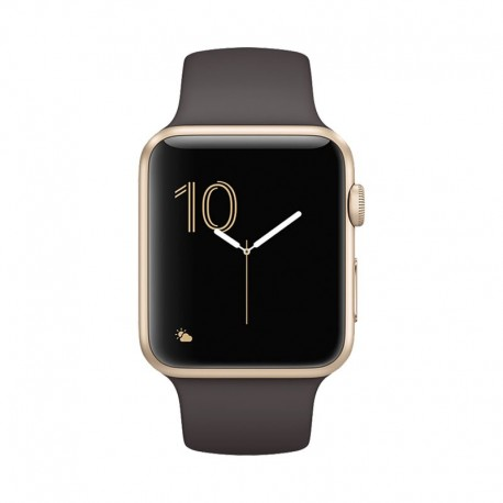 Apple Watch Gold Aluminum Case with Cocoa Sport Band Series 1 42mm