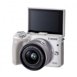 Canon EOS M3 with EF-M15-45 Lens (White)